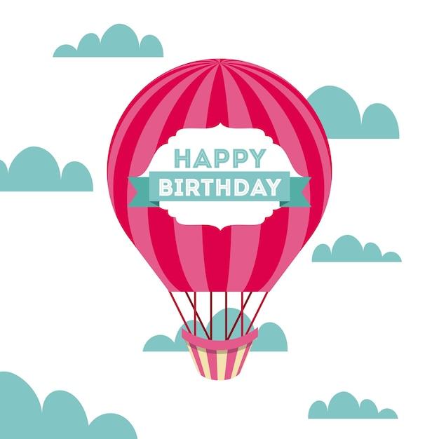 Feliz aniversário cartão Vetor Premium