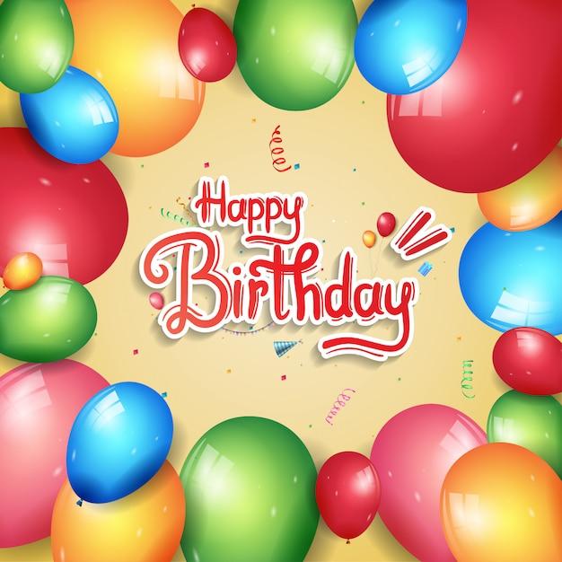 Feliz aniversário cartaz celebração ilustração Vetor Premium