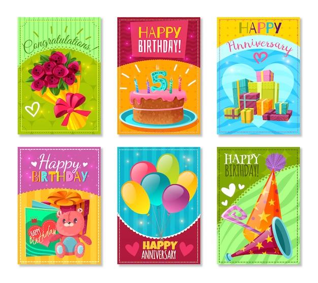 Feliz aniversario cartões Vetor grátis
