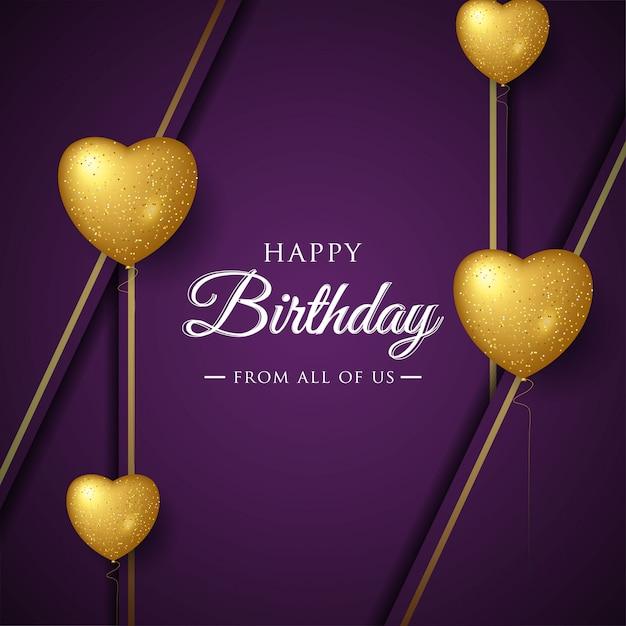 Feliz aniversário celebração tipografia design para cartão postal, cartaz ou banner com balões de amor realista Vetor Premium