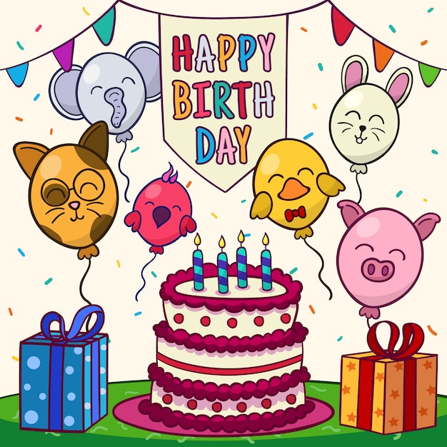 Feliz aniversário com animais de balão e bolo Vetor grátis