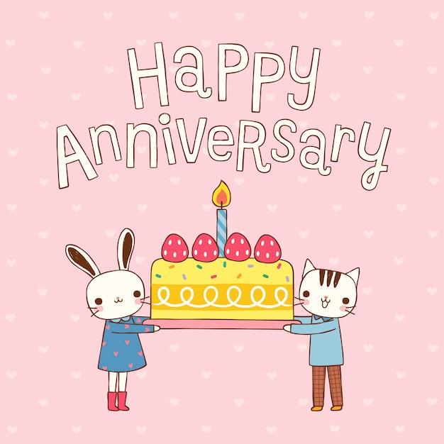 Feliz aniversário com coelho de casal bonito dos desenhos animados e gato Vetor Premium