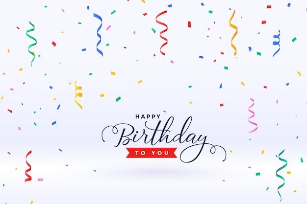 Feliz aniversário com confete caindo Vetor grátis