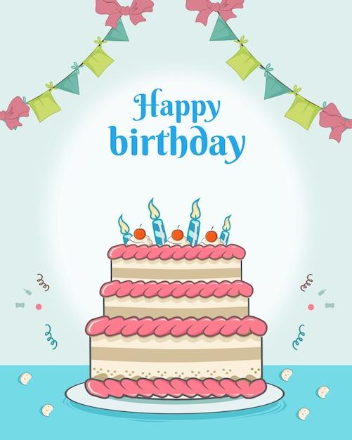Feliz aniversário com grande torta e bandeira decoração design plano Vetor Premium