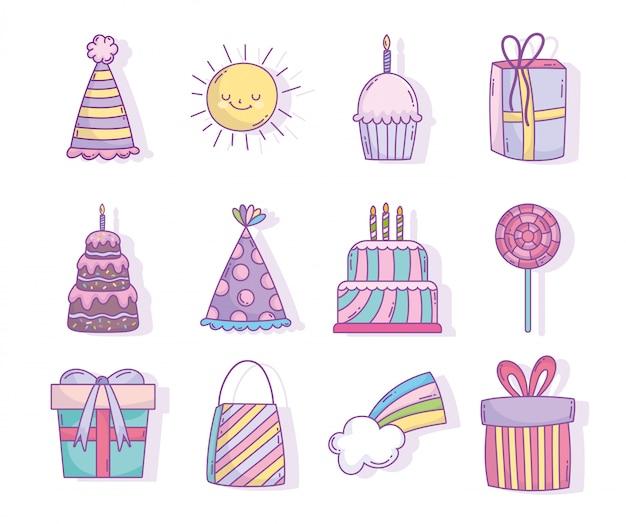 Feliz aniversário comemoração festa decoração bolos presentes chapéu doces Vetor Premium