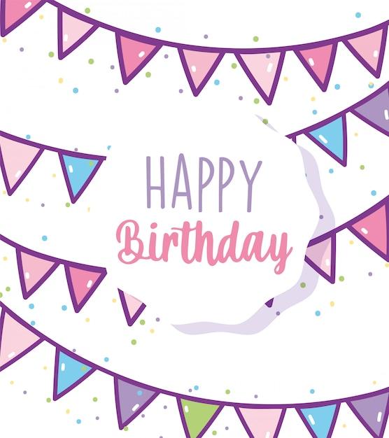 Feliz aniversário comemoração festa decoração buntings distintivo Vetor Premium