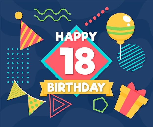 Feliz aniversário de 18 anos com balões e chapéu de festa Vetor grátis