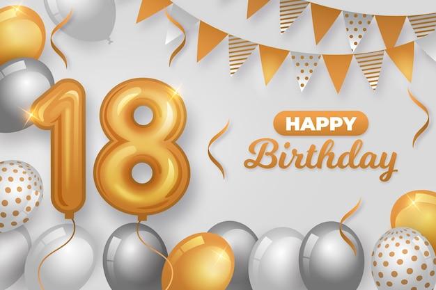 Feliz aniversário de 18 anos com balões realistas Vetor Premium
