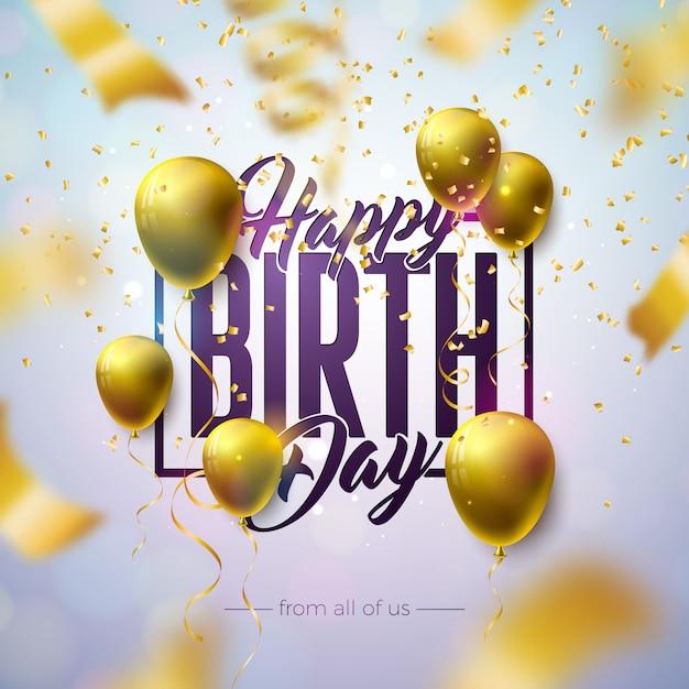 Feliz aniversário design com balão, carta de tipografia e confetes caindo sobre fundo claro. Vetor grátis