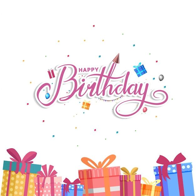 Feliz aniversário design para cartão de plano de fundo, banner e convite Vetor Premium