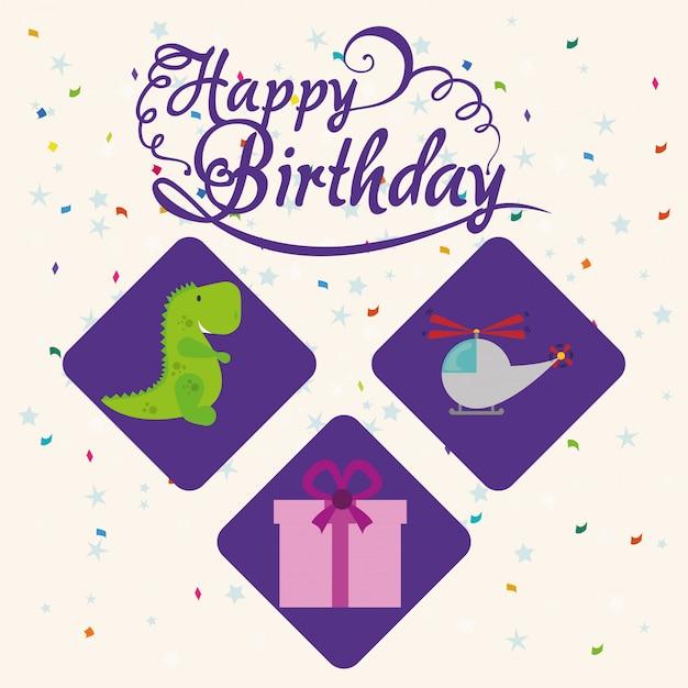 Feliz aniversario design Vetor Premium