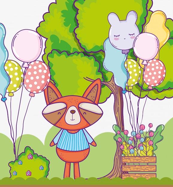 Feliz aniversario do guaxinim bonito com balões Vetor Premium