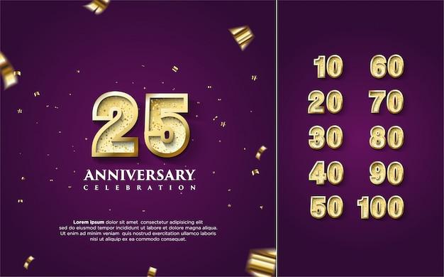 Feliz aniversário em ouro com vários conjuntos de números de 10 a 100. Vetor Premium