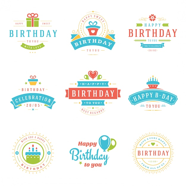 Feliz aniversário emblemas e rótulos vector design elements set. Vetor Premium