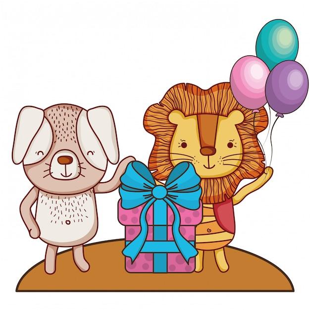 Feliz aniversário fofos animais Vetor Premium