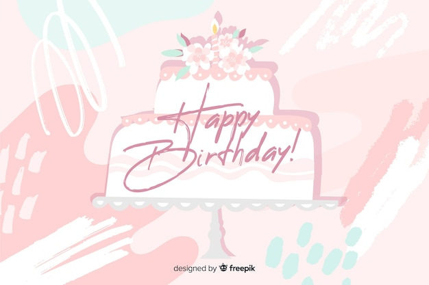 Feliz aniversário fundo na mão desenhada estilo Vetor grátis