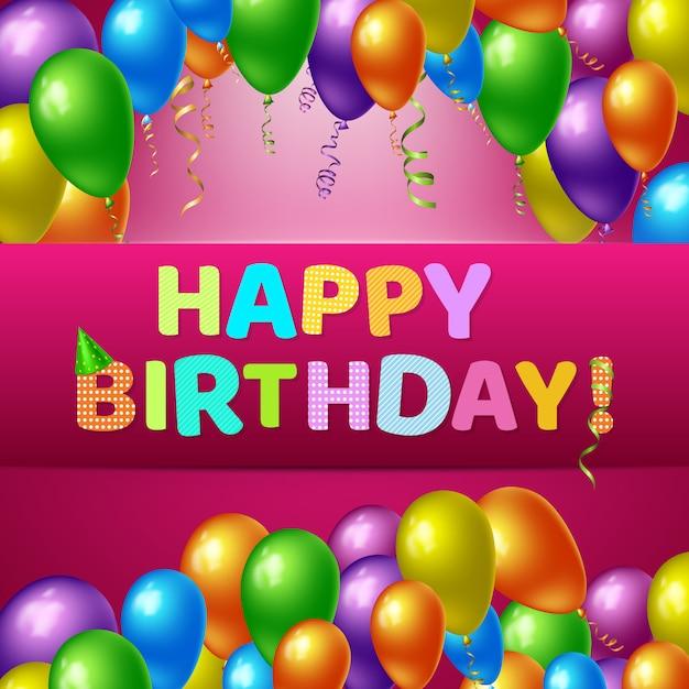 Feliz aniversário fundo realista Vetor grátis