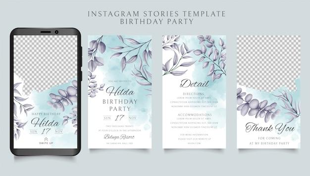 Feliz aniversário instagram histórias modelo com fundo floral Vetor Premium