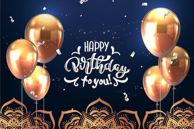 Feliz aniversário letras Vetor grátis