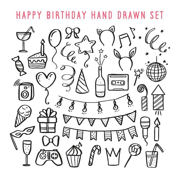 Feliz aniversário mão desenhado conjunto. ilustração em vetor vintage. Vetor Premium