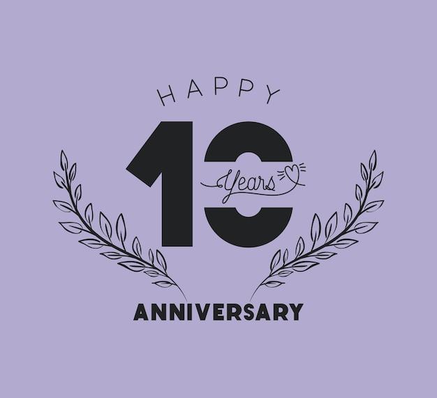 Feliz aniversário número 10 com coroa de grinalda Vetor Premium