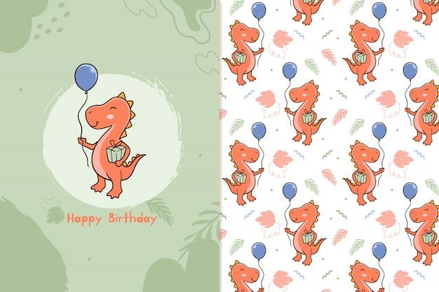 Feliz aniversário padrão de dinossauros Vetor Premium