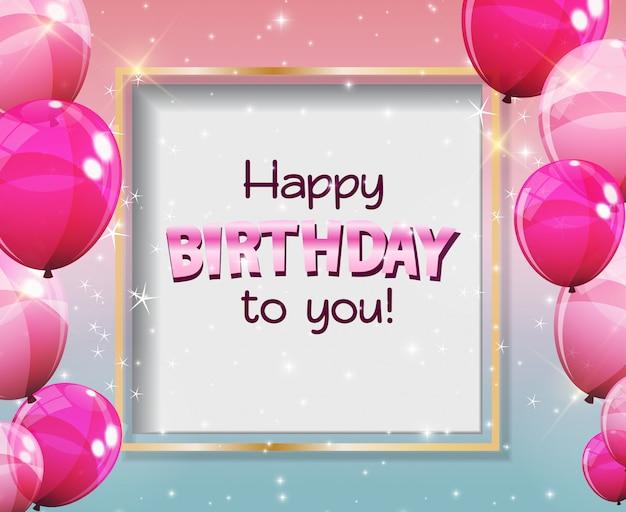 Feliz aniversário para você cartão com balões brilhantes de cor Vetor Premium