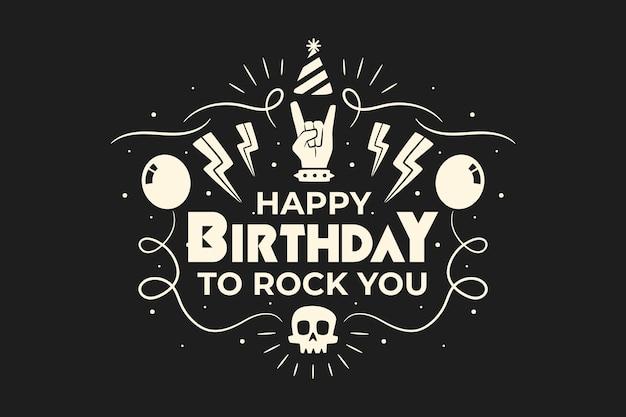 Feliz aniversário para você fundo metalhead interno Vetor grátis