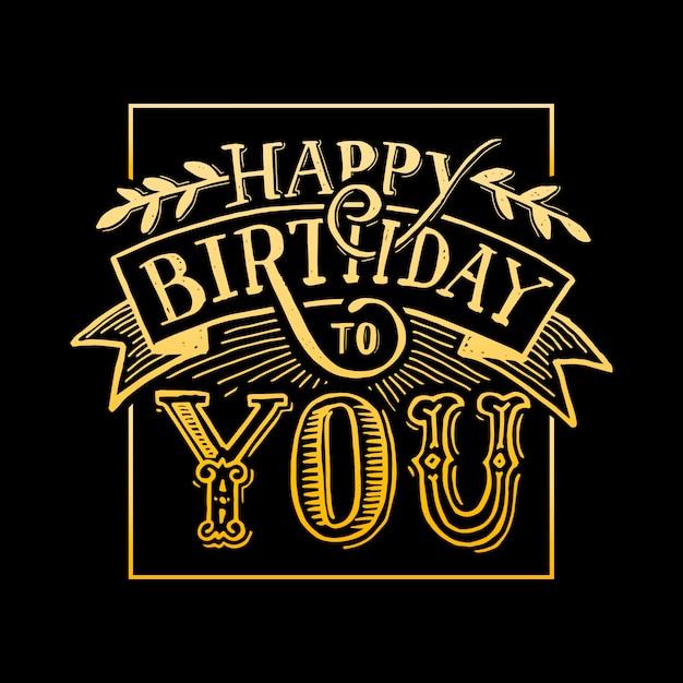 Feliz aniversário para você texto letras caligrafia preto e amarelo Vetor Premium