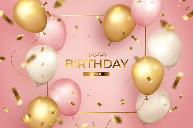 Feliz aniversário realista com moldura dourada Vetor grátis