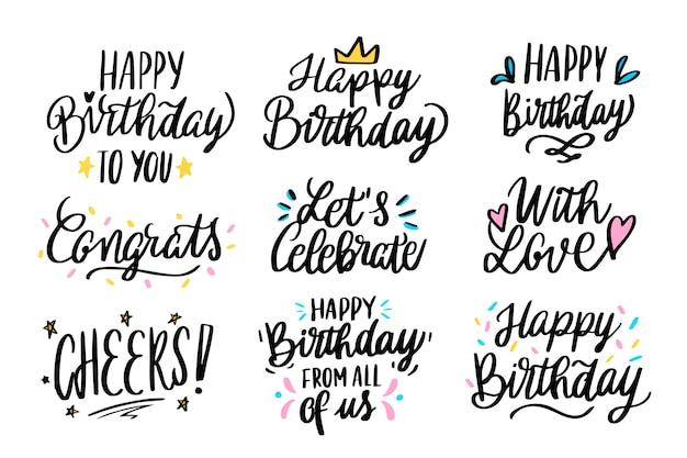 Feliz aniversário saudações lettering Vetor grátis