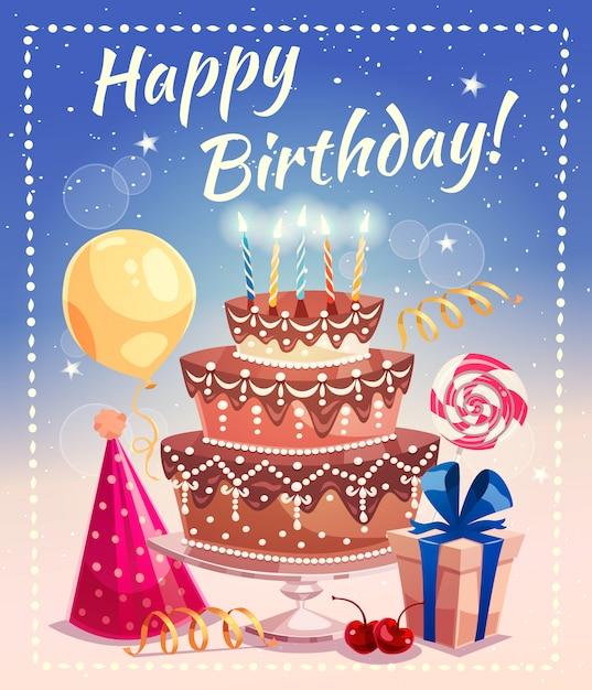 Feliz aniversário, vetorial, ilustração Vetor grátis