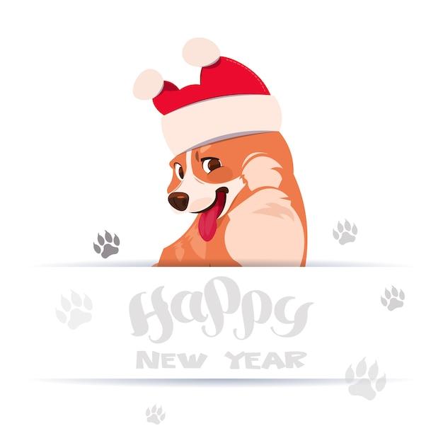 Feliz ano novo 2018 design de cartão com letras e corgi cachorro vestindo chapéu de papai noel Vetor Premium