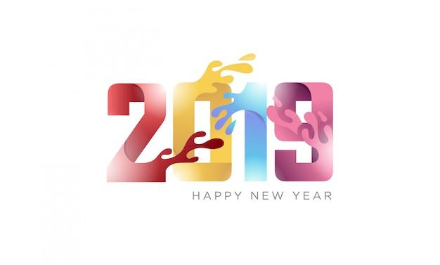 Feliz ano novo 2019 banner criativo com papel dobrado conceito com efeito fluido Vetor Premium