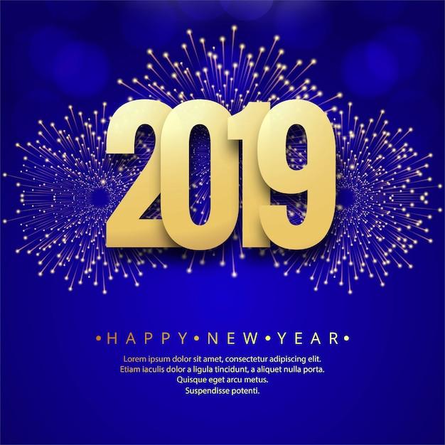 Feliz ano novo 2019 cartão celebração fundo colorido Vetor grátis