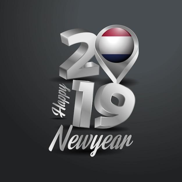 Feliz ano novo 2019 cinza tipografia Vetor grátis