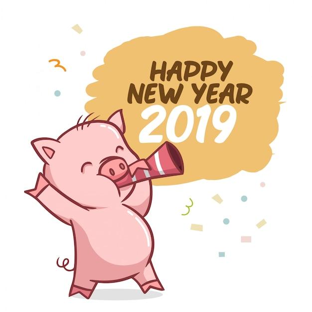 Feliz ano novo 2019 com caráter de porco Vetor Premium
