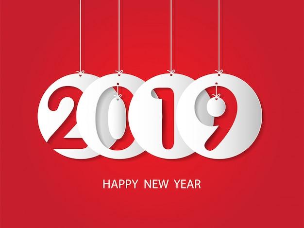 Feliz ano novo 2019 e feliz natal. Vetor Premium