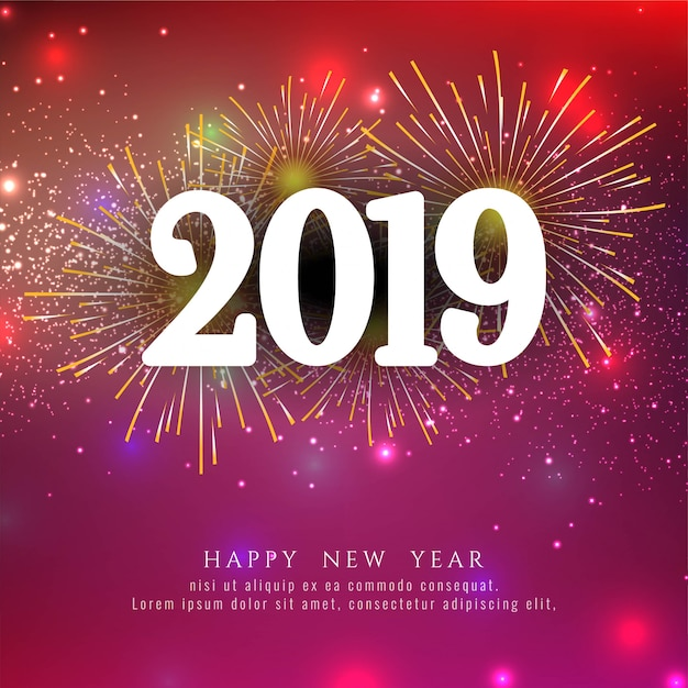 feliz ano novo 2019 elegante fundo de fogo de artif u00edcio