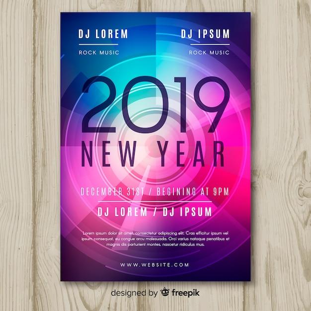Feliz ano novo 2019 poster Vetor grátis