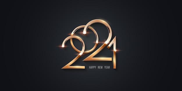 Feliz ano novo 202, números dourados brilhando com brilhos Vetor Premium