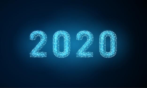 Feliz ano novo 2020 abstrato cartão com estilo futurista Vetor Premium