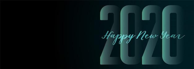 Feliz ano novo 2020 ampla faixa escura Vetor grátis