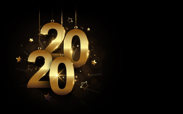 Feliz ano novo 2020 banner. caligrafia de luxo cintilante dourada 2020 e relógio com estrelas no fundo preto Vetor Premium