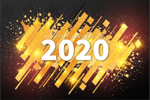 Feliz ano novo 2020 banner moderno com forma abstrata Vetor grátis