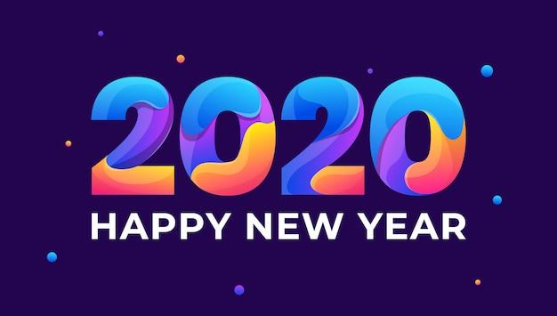 Feliz ano novo 2020 cartão colorido Vetor Premium