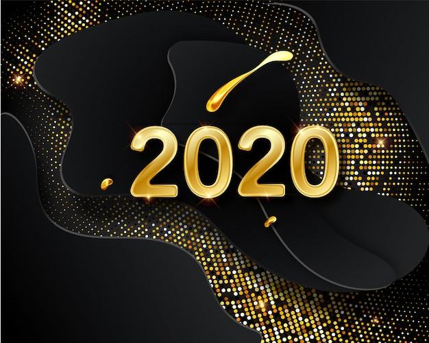 Feliz ano novo 2020 cartão com números dourados no preto Vetor Premium