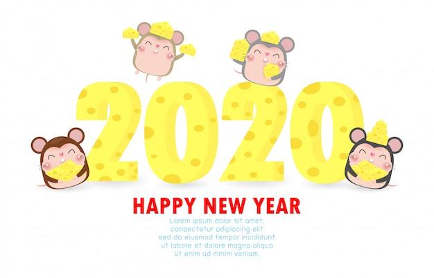 Feliz ano novo 2020 cartão com queijo e rato bonitinho Vetor Premium