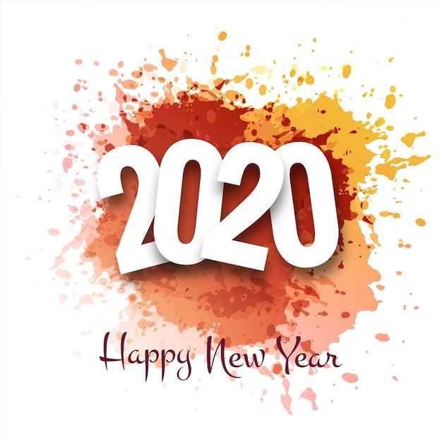 Feliz ano novo 2020 cartão de saudação de férias de inverno Vetor grátis