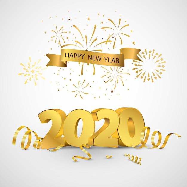 Feliz ano novo 2020 cartão design confetes de ouro. Vetor Premium